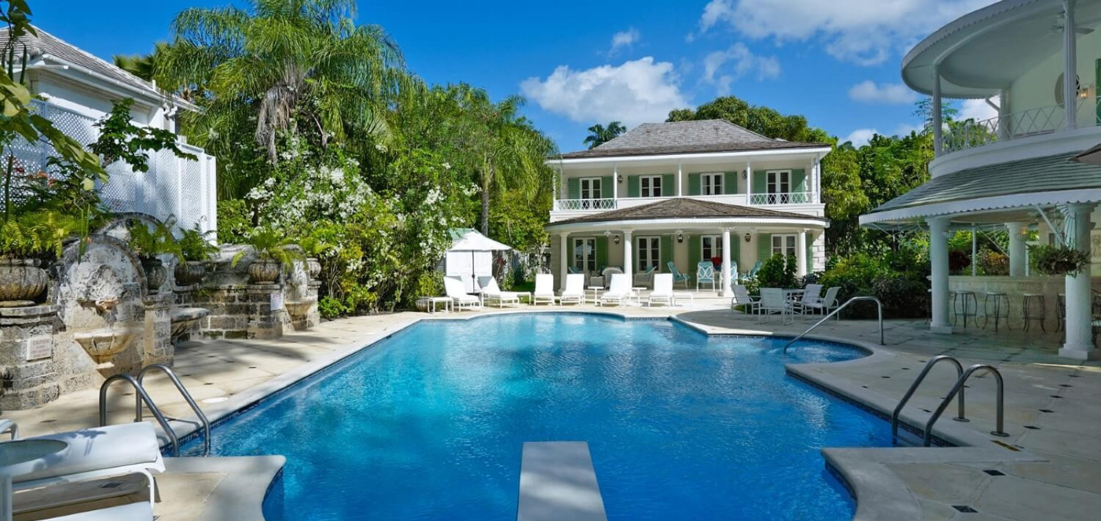 Front of Villa 8 Bedroom Beachfront in St James with Speed Boat & Private Pool