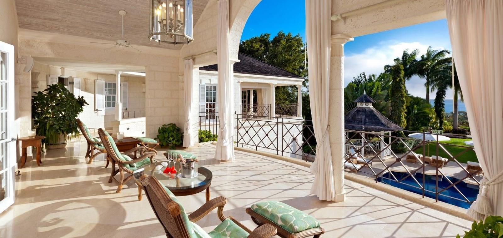 Porch with Sea Views 5 Bedroom Villa Sugar Hill, Barbados with Private Pool, Putting Green & Sea Views