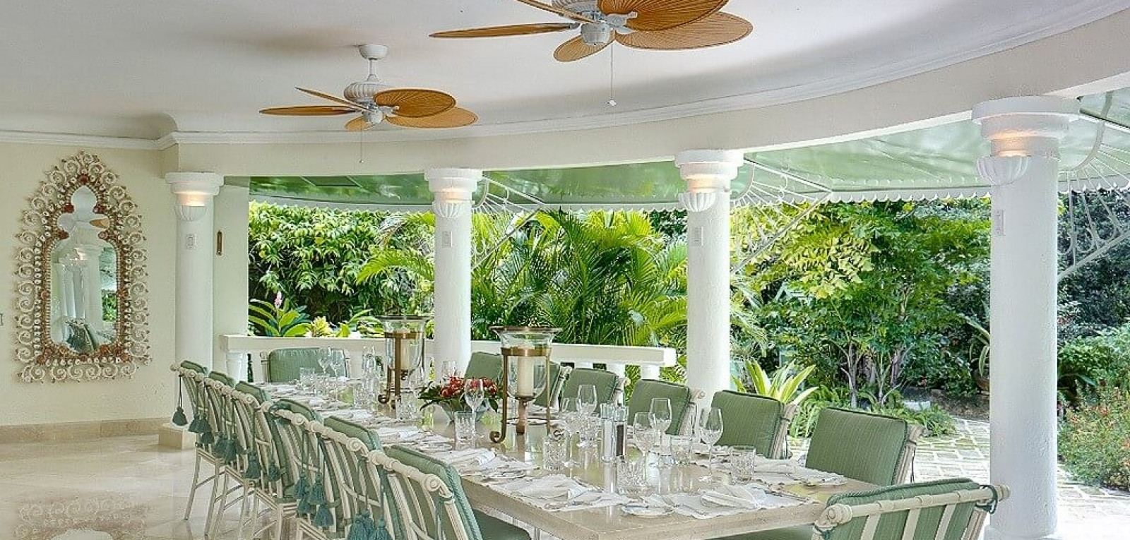 Outdoor Dining for 14 at 8 Bedroom Beachfront in St James with Speed Boat & Private Pool