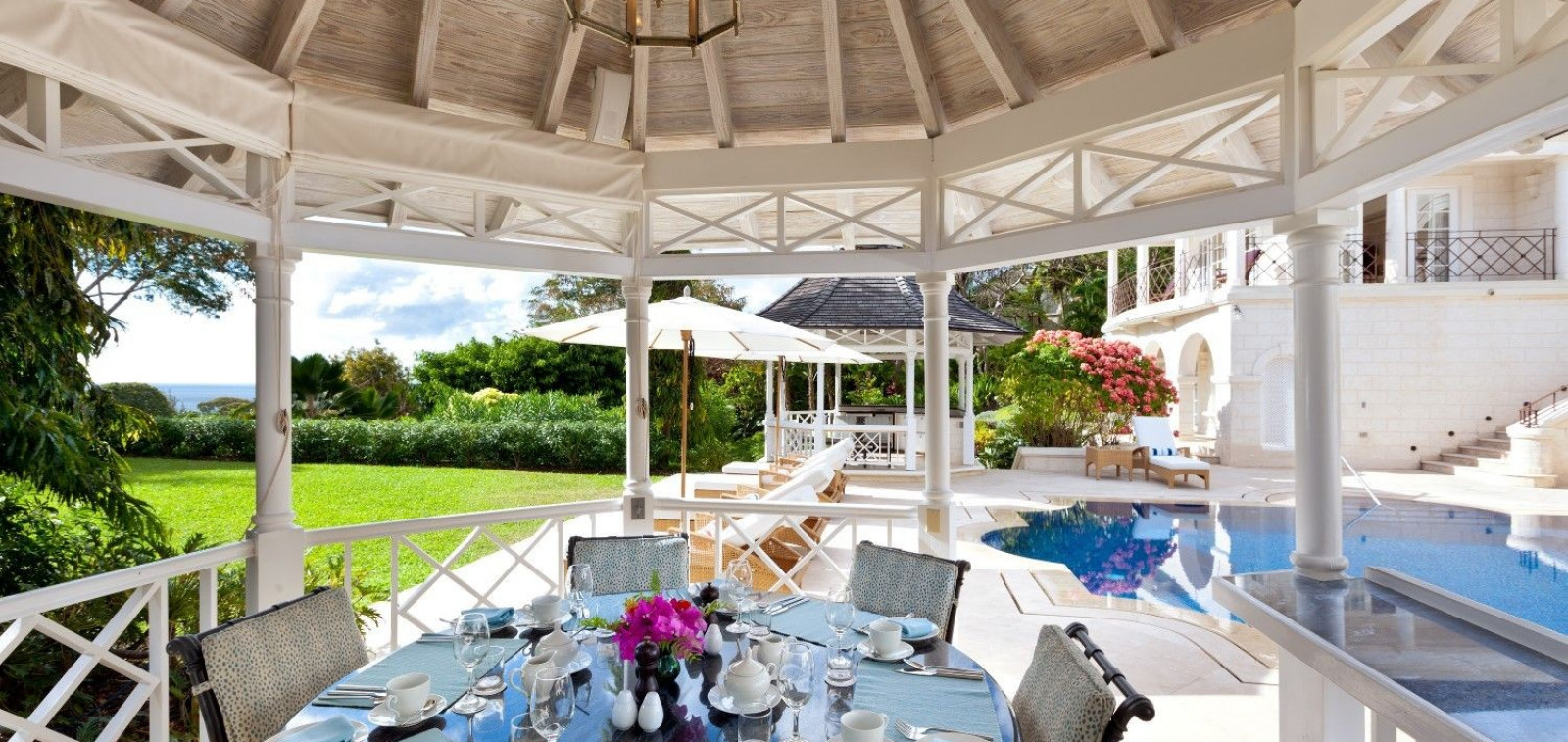 Outdoor Dining Space 5 Bedroom Villa Sugar Hill, Barbados with Private Pool, Putting Green & Sea Views